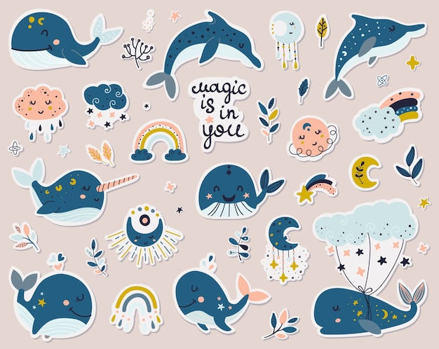 Collezione di adesivi di balene celesti, delfini e narvali