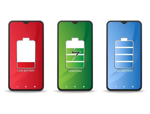 Telefono cellulare quando la batteria è scarica la batteria è carica e la batteria è piena