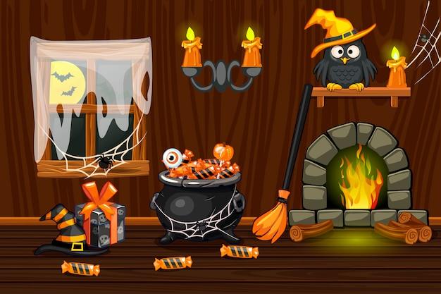 Casa della cantina, stanza di legno interna dell'illustrazione con i simboli di halloween e camino