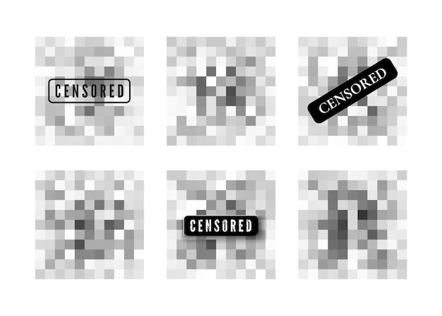 Dati censurati. area di sfocatura dei pixel trasparenti. diminuire la nitidezza nell'illustrazione. contenuti privati. mosaico di censura.