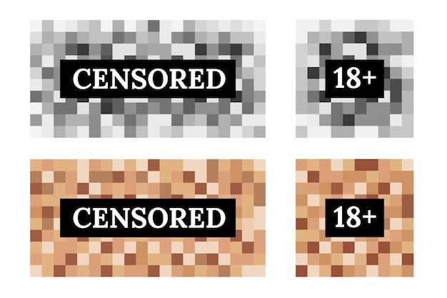 Set di segni censurati da sfocatura pixel per protezione viso e corpo. colore quadrato nel design del mosaico