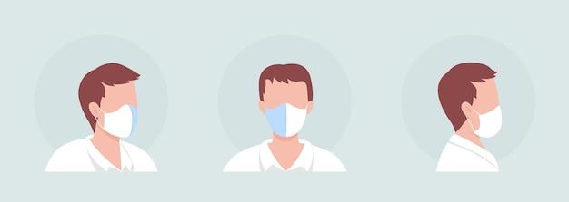 Set di avatar di personaggi di colore semi piatto per chi indossa la maschera con cucitura centrale