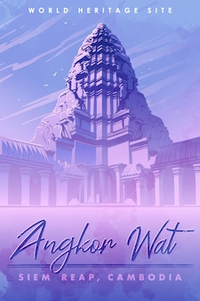 Centro del complesso del tempio di angkor wat in cambogia. panorama dell'alba. poster vintage. illustrazione vettoriale eps10