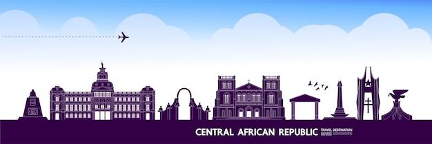 Grande illustrazione della destinazione di viaggio della repubblica centrafricana