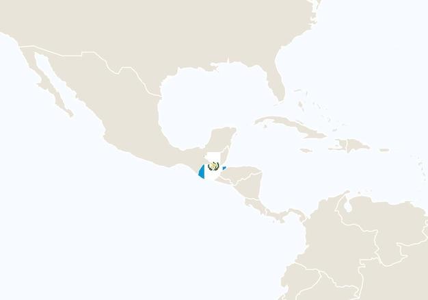 America centrale con mappa del guatemala evidenziata. illustrazione di vettore.