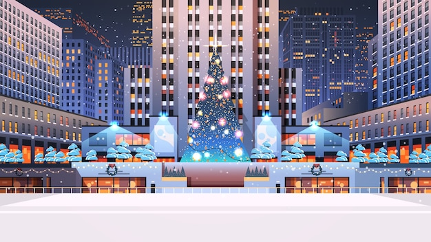 Piazza centrale della città con albero di natale decorato felice anno nuovo vacanze invernali celebrazione concetto notte paesaggio urbano sfondo illustrazione orizzontale