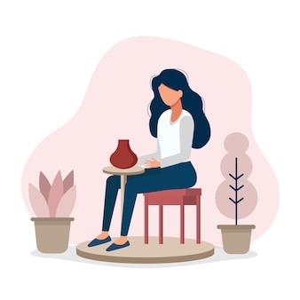 Ceramica maestra di ceramica ceramica la ragazza è impegnata nella ceramica