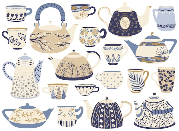 Teiera e tazza in ceramica bollitori da tè in porcellana tazze da caffè con elementi decorativi set vettoriale