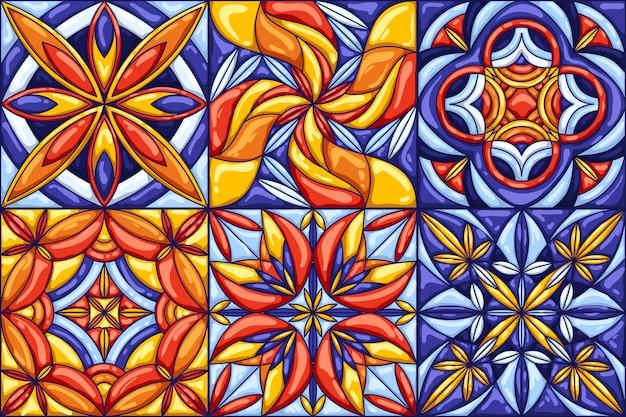 Modello di piastrelle di ceramica. talavera messicano ornato tradizionale, azulejo portoghese o maiolica spagnola