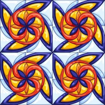 Modello di piastrelle di ceramica. piastrelle ceramiche portoghesi o italiane decorate tipiche. sfondo astratto decorativo. vettore retrò senza soluzione di continuità. Vettore Premium