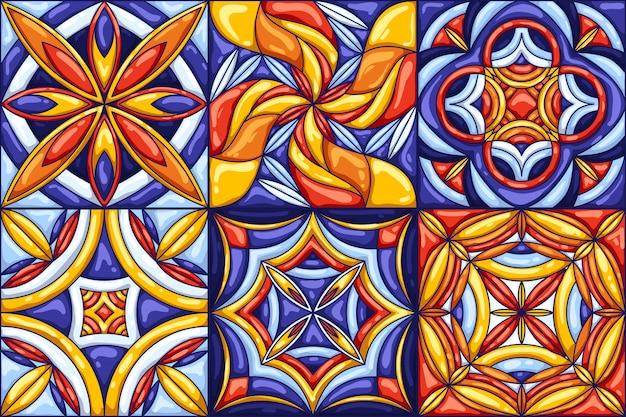 Modello di piastrelle di ceramica. tipiche piastrelle di ceramica portoghesi o italiane decorate.