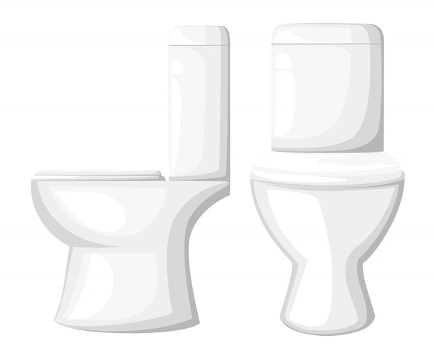 Illustrazione vicina del sedile della tazza del water in ceramica sulla pagina del sito web del fondo bianco e sull'app mobile