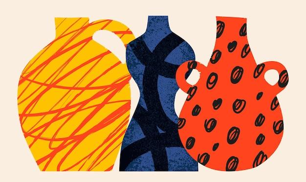 Vasi in ceramica astrazione concetto di ceramica varie trame set vettoriale disegnato a mano