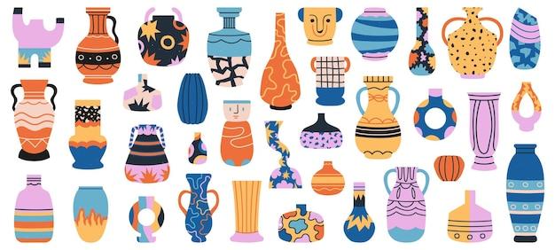 Vasi in ceramica. vaso in ceramica di porcellana, insieme disegnato a mano isolato ceramiche antiche minimaliste