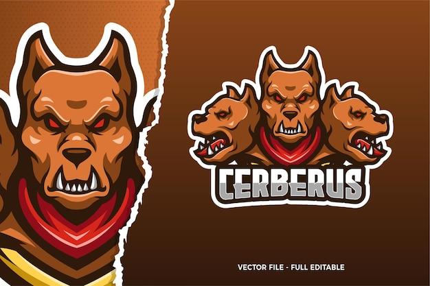 Il modello di logo del gioco di sport elettronici di cerberus