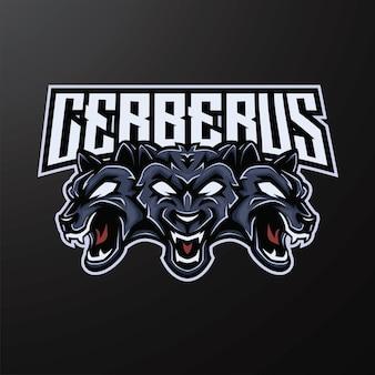 Design del logo esport della mascotte di cerberus
