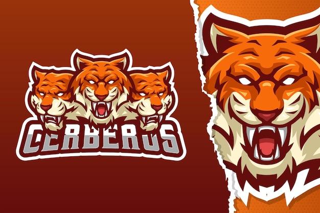 Modello di logo della mascotte di cerberus