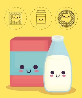 Scatola di cereali e bottiglia di latte