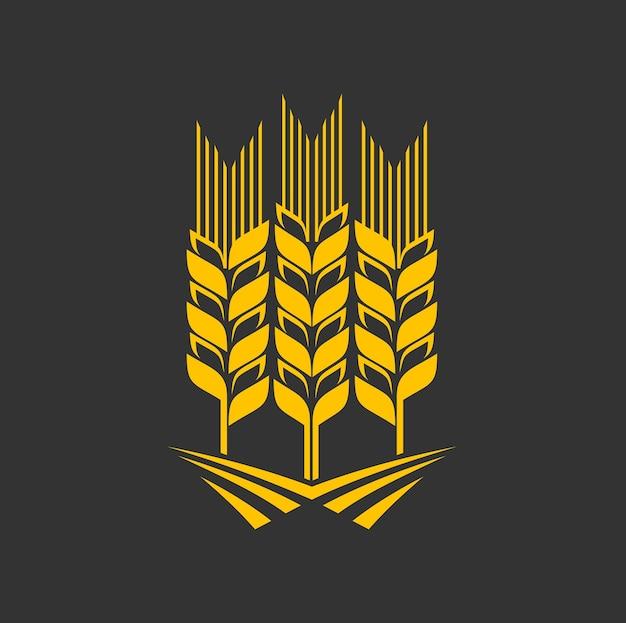 Icona grafica spiga di cereali, grano, segale o orzo