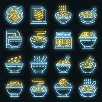 Set di icone di fiocchi di cereali. contorno set di icone vettoriali fiocchi di cereali colore neon su nero