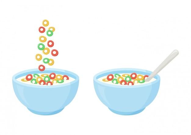 Colazione al latte di cereali. ciotola in ceramica con fiocchi dolci e cucchiaio che cadono.