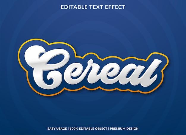 Modello di effetto testo cereali stile premium