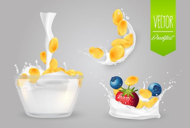 Cereali con latte e frutti di bosco