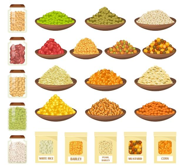 Cereali e grano in ciotole isolate su bianco