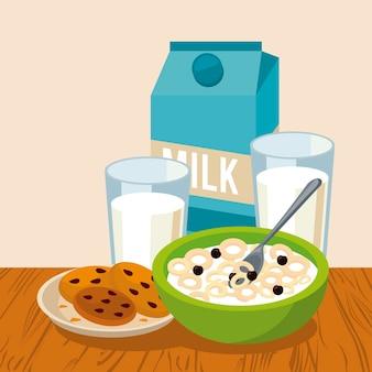 Menu per la colazione di cereali con biscotti e latte