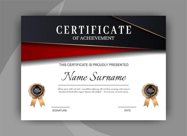 Certificato di modello di realizzazione. modello di diploma certificato premium