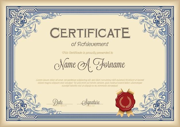 Certificato di conseguimento cornice floreale vintage