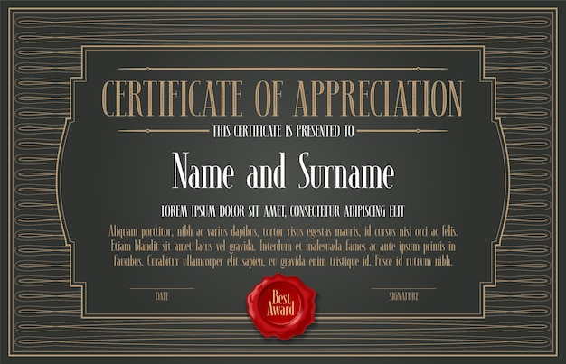 Certificato di apprezzamento, illustrazione di vettore di successo
