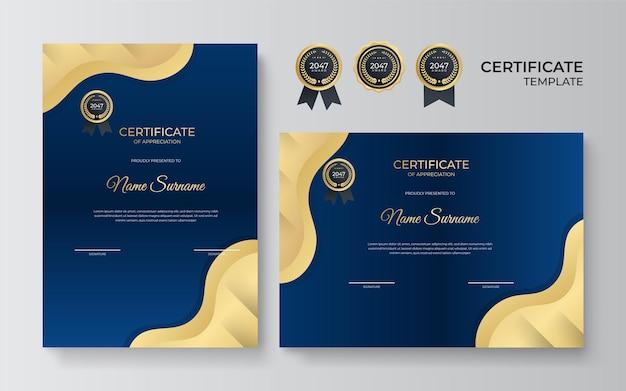 Certificato di modello di progettazione di apprezzamento in colore blu e oro. layout di diploma aziendale di lusso per la laurea o il completamento del corso. illustrazione di sfondo vettoriale