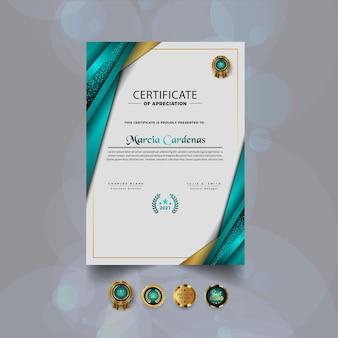 Certificato di apprezzamento design del modello moderno