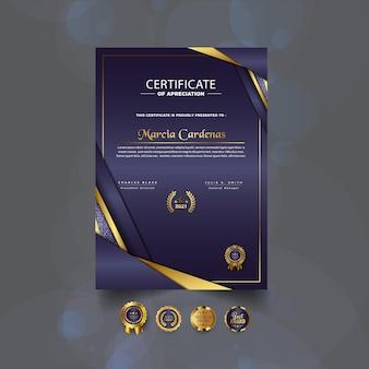 Certificato di apprezzamento modello moderno