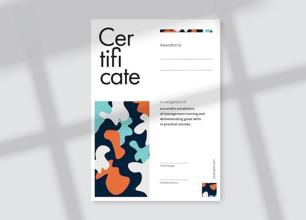 Design del modello di certificato di apprezzamento elegante layout del diploma aziendale per la laurea o il completamento del corso