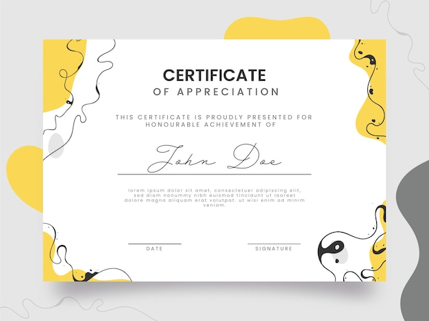 Certificato di apprezzamento modello di layout in colore bianco.