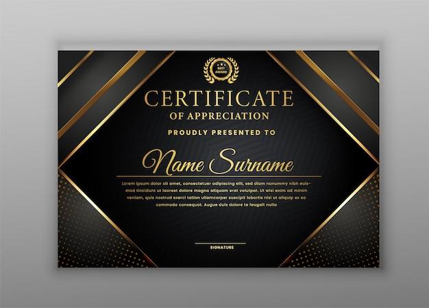Certificato di apprezzamento con modello bordo oro e nero