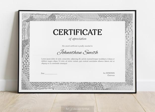 Certificato di apprezzamento con elementi disegnati a mano