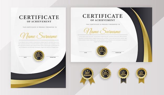 Certificato miglior modello di diploma di premio con badge