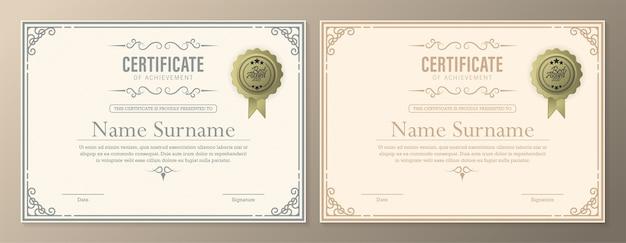 Confine di valuta diploma certificato