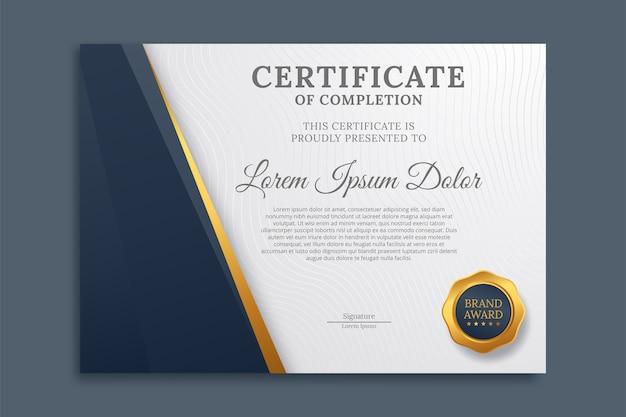 Modello di design moderno certificato o diploma
