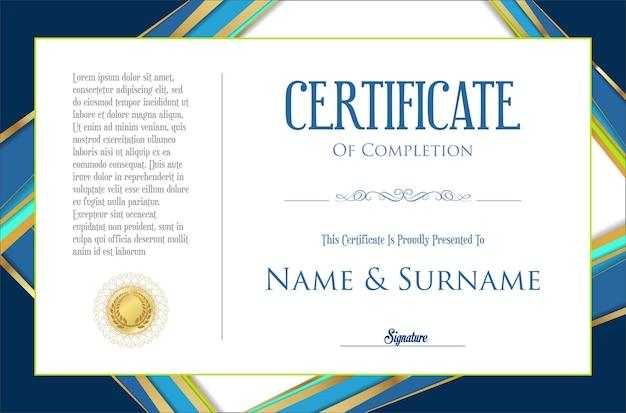 Modello di design colorato retrò certificato o diploma
