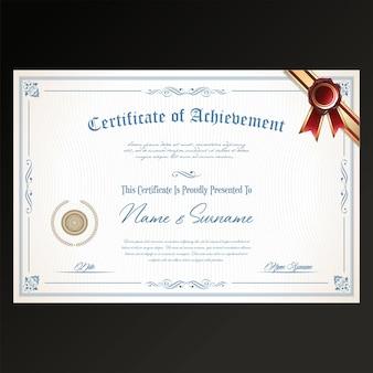 Modello di design retrò certificato o diploma su sfondo nero