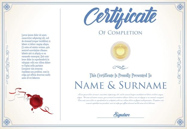 Modello di design retrò certificato o diploma