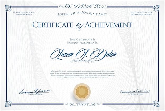 Retro illustrazione di vettore del modello del diploma o del certificato Vettore Premium