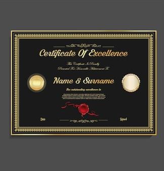 Modello di design vintage retrò certificato o diploma