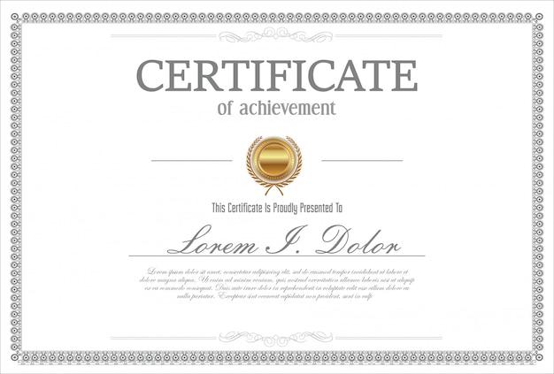 Certificato o diploma design vintage retrò