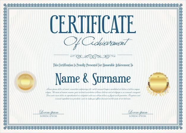 Modello vintage retrò di certificato o diploma
