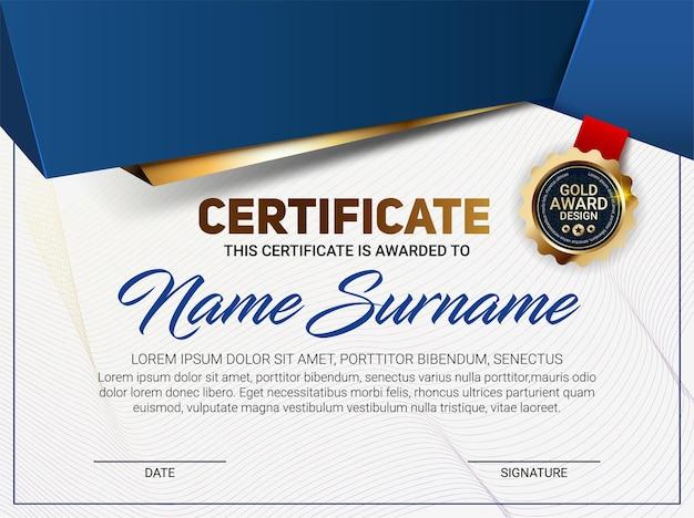 Modello di certificato o diploma con motivo a linee di lusso ed emblema del premio in oro